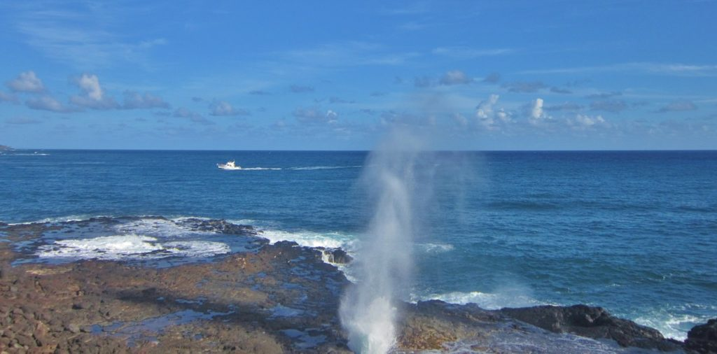 Water spouting from Spouting Horn Poipu